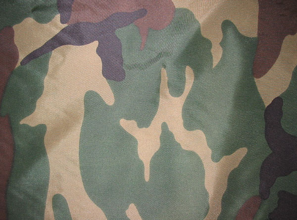 Nylon Tarp Fabric, Woodland Camo, PU coated, Flame Retardent